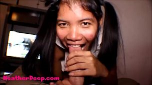 Thai Teen Heather Deep gives deepthroat